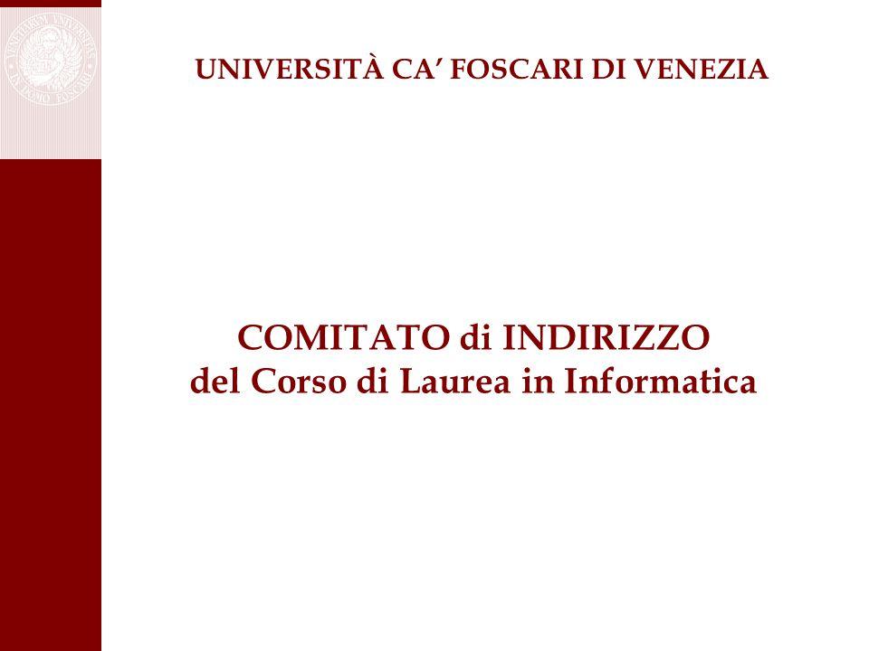 COMITATO di INDIRIZZO del Corso di Laurea in Informatica UNIVERSITÀ CA' FOSCARI DI VENEZIA