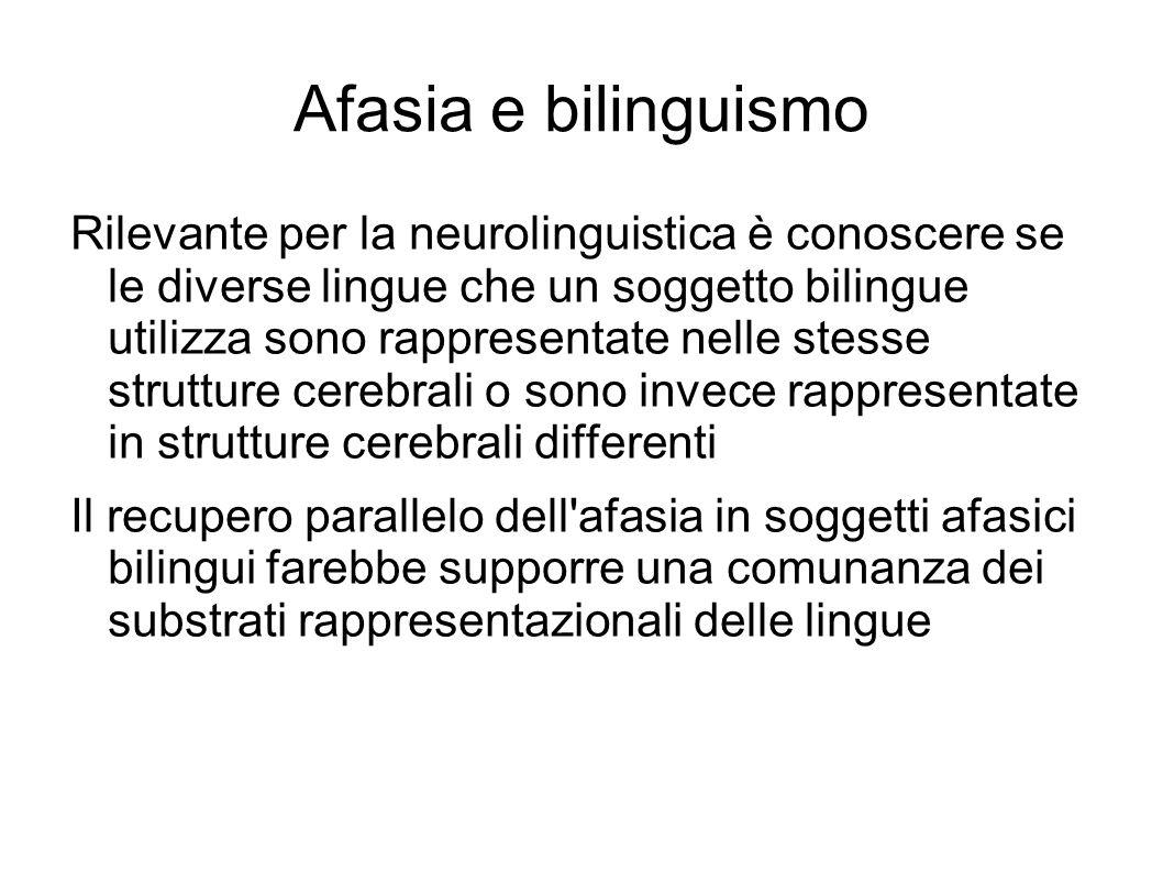 Afasia e bilinguismo Rilevante per la neurolinguistica è conoscere se le diverse lingue che un soggetto bilingue utilizza sono rappresentate nelle ste