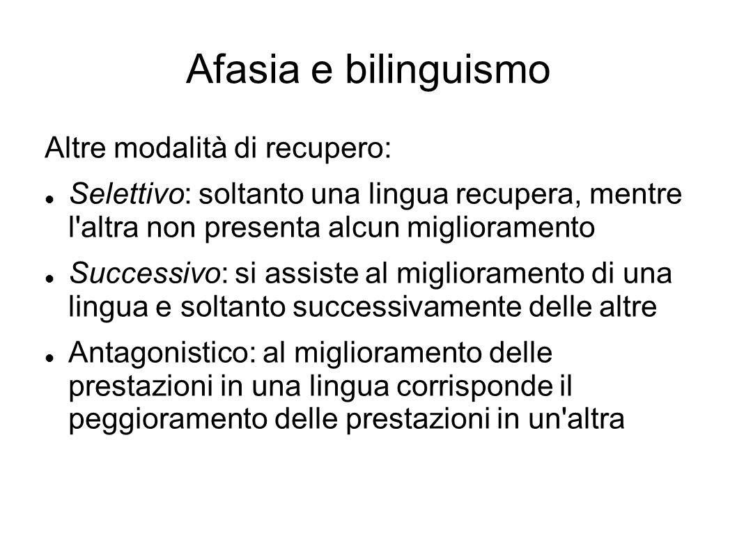 Afasia e bilinguismo Altre modalità di recupero: Selettivo: soltanto una lingua recupera, mentre l'altra non presenta alcun miglioramento Successivo: