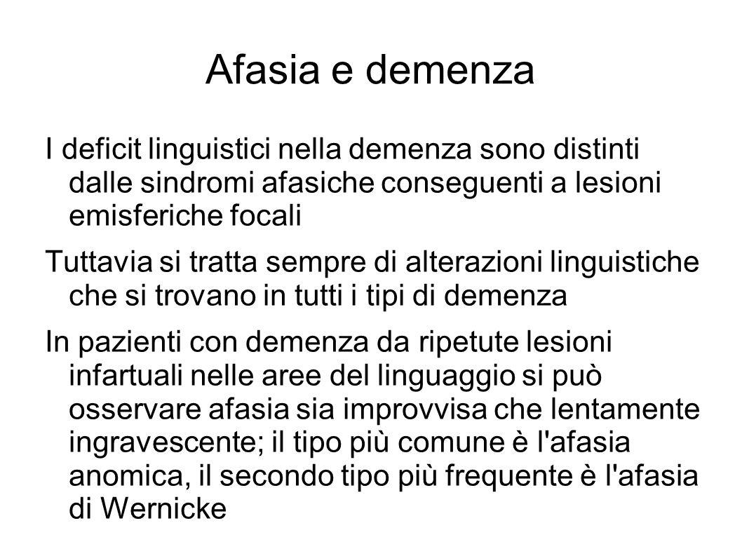 Afasia e demenza I deficit linguistici nella demenza sono distinti dalle sindromi afasiche conseguenti a lesioni emisferiche focali Tuttavia si tratta
