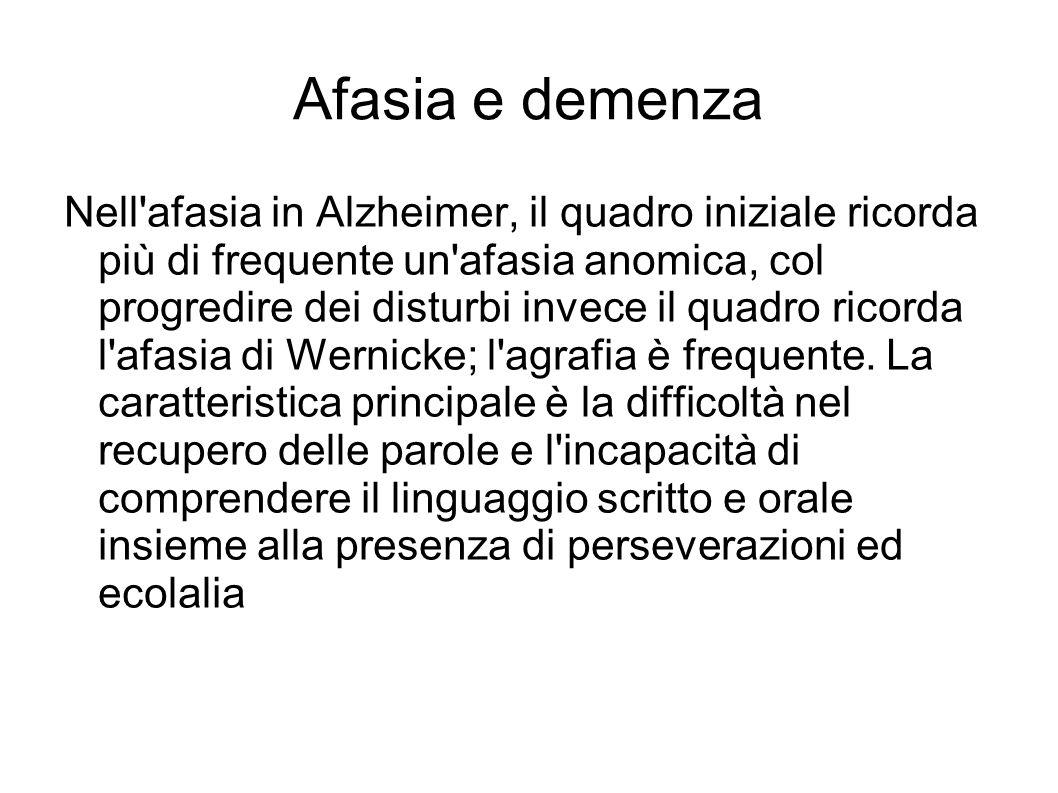 Afasia e demenza Nell'afasia in Alzheimer, il quadro iniziale ricorda più di frequente un'afasia anomica, col progredire dei disturbi invece il quadro