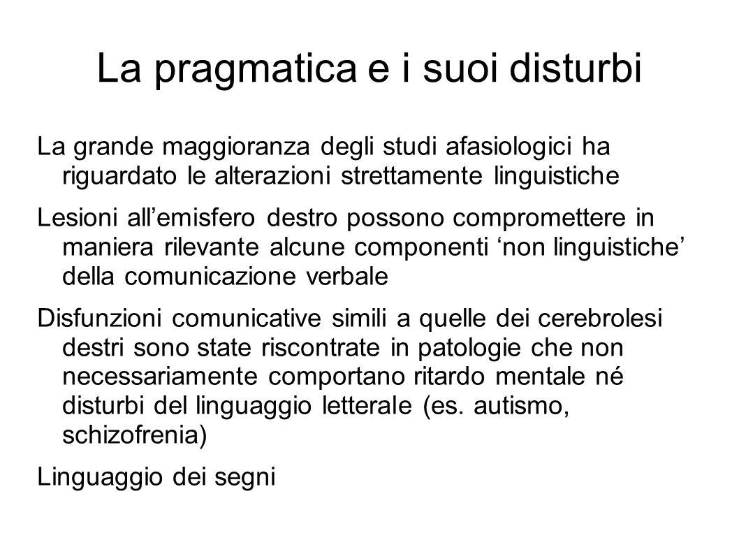 La pragmatica e i suoi disturbi La grande maggioranza degli studi afasiologici ha riguardato le alterazioni strettamente linguistiche Lesioni all'emis