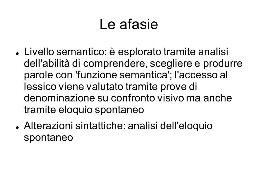Le afasie Livello semantico: è esplorato tramite analisi dell'abilità di comprendere, scegliere e produrre parole con 'funzione semantica'; l'accesso