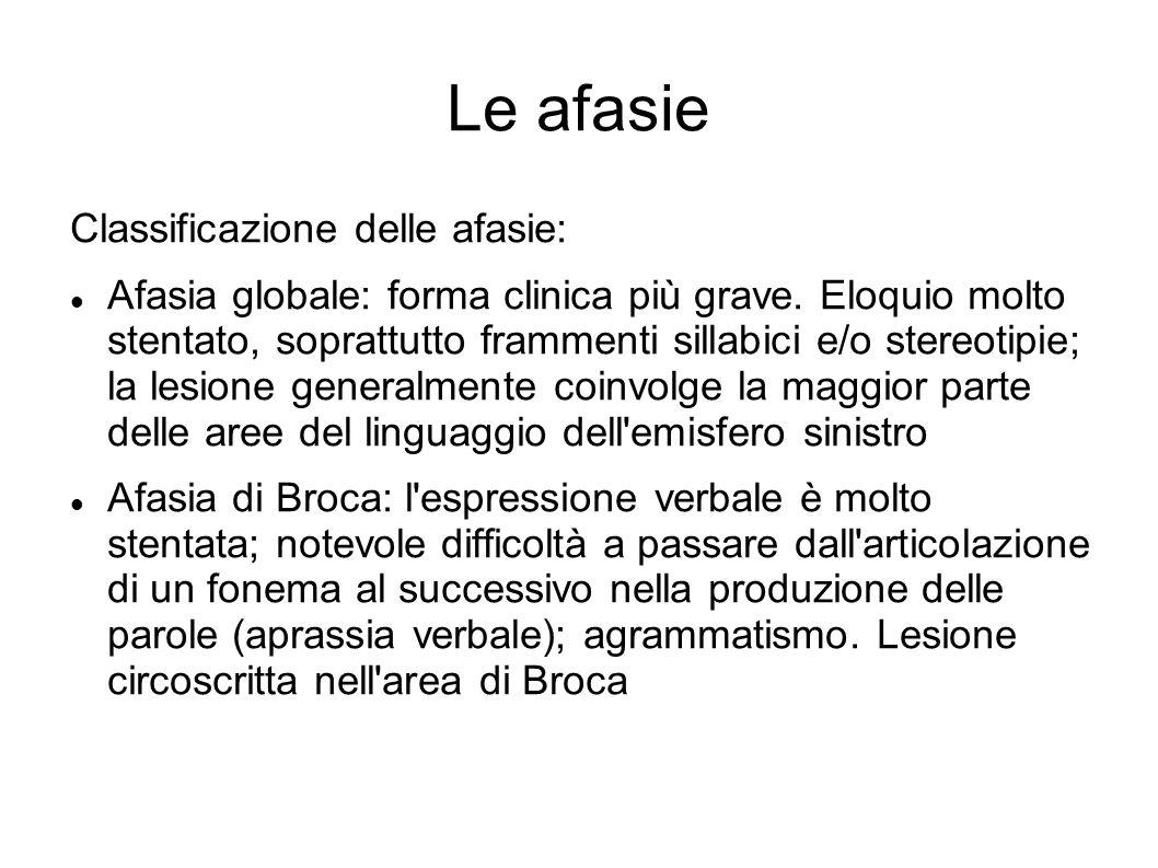 Le afasie Classificazione delle afasie: Afasia globale: forma clinica più grave. Eloquio molto stentato, soprattutto frammenti sillabici e/o stereotip