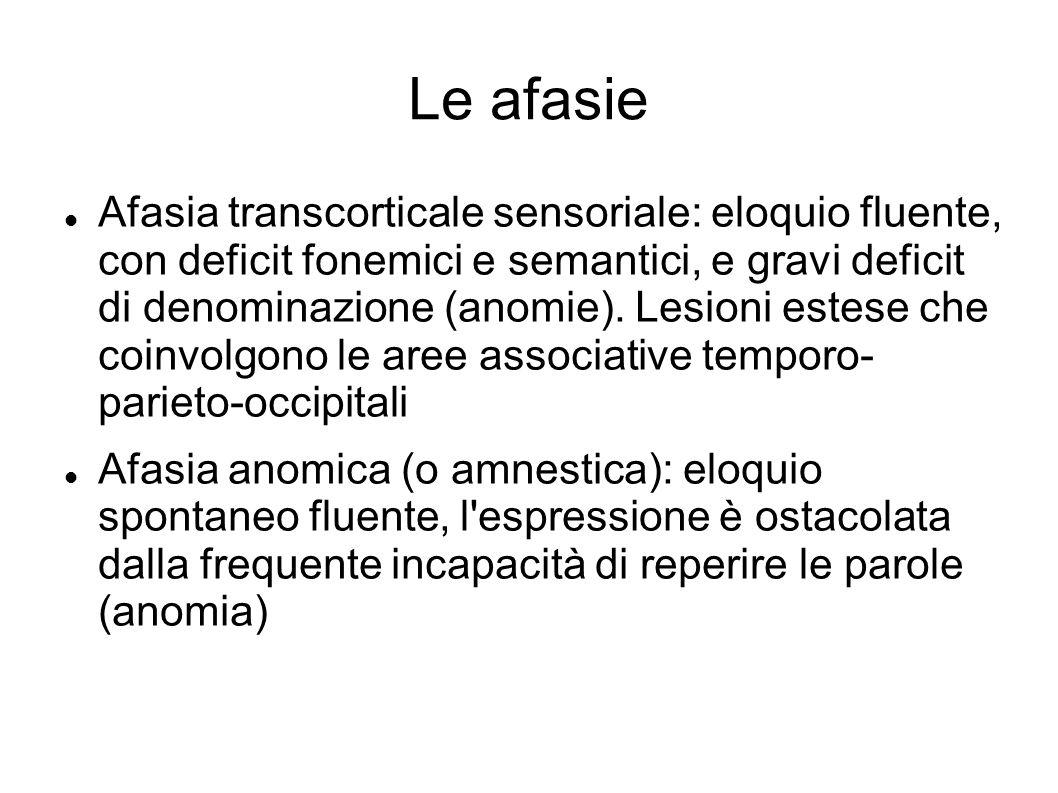 Le afasie Afasia transcorticale sensoriale: eloquio fluente, con deficit fonemici e semantici, e gravi deficit di denominazione (anomie). Lesioni este