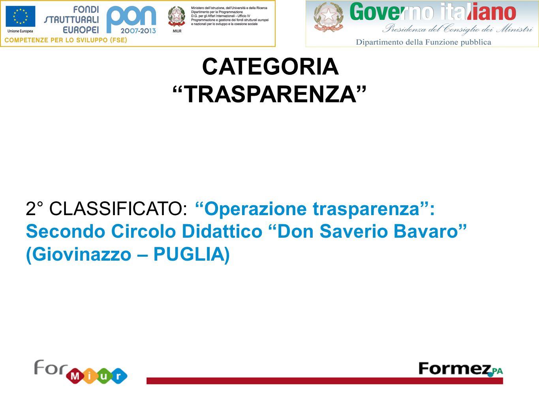 CATEGORIA TRASPARENZA 2° CLASSIFICATO: Operazione trasparenza : Secondo Circolo Didattico Don Saverio Bavaro (Giovinazzo – PUGLIA)