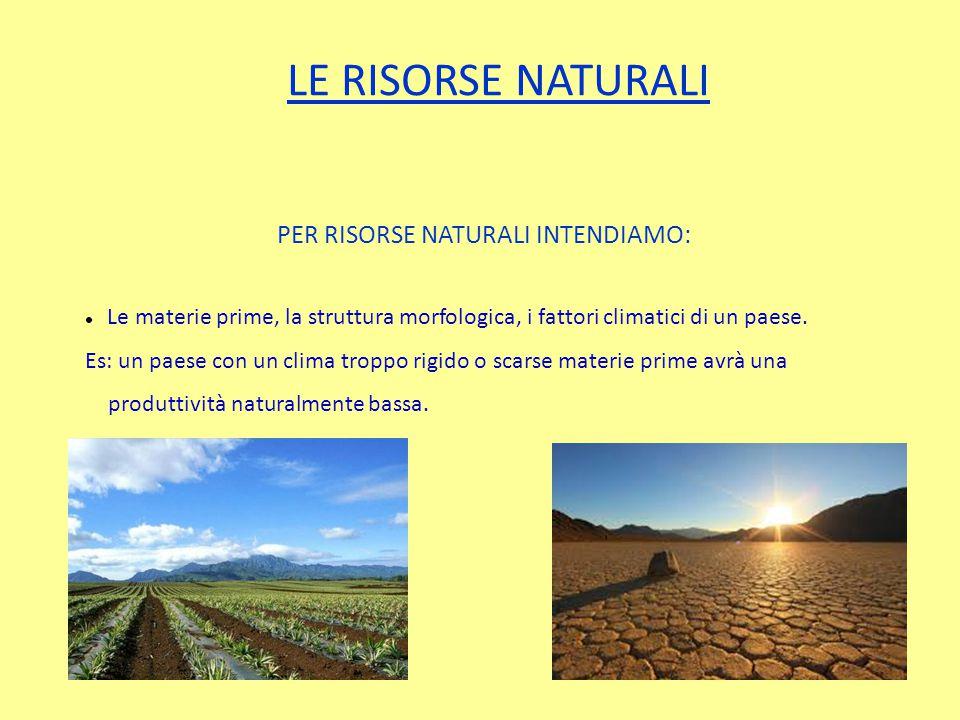 LE RISORSE NATURALI PER RISORSE NATURALI INTENDIAMO: Le materie prime, la struttura morfologica, i fattori climatici di un paese.