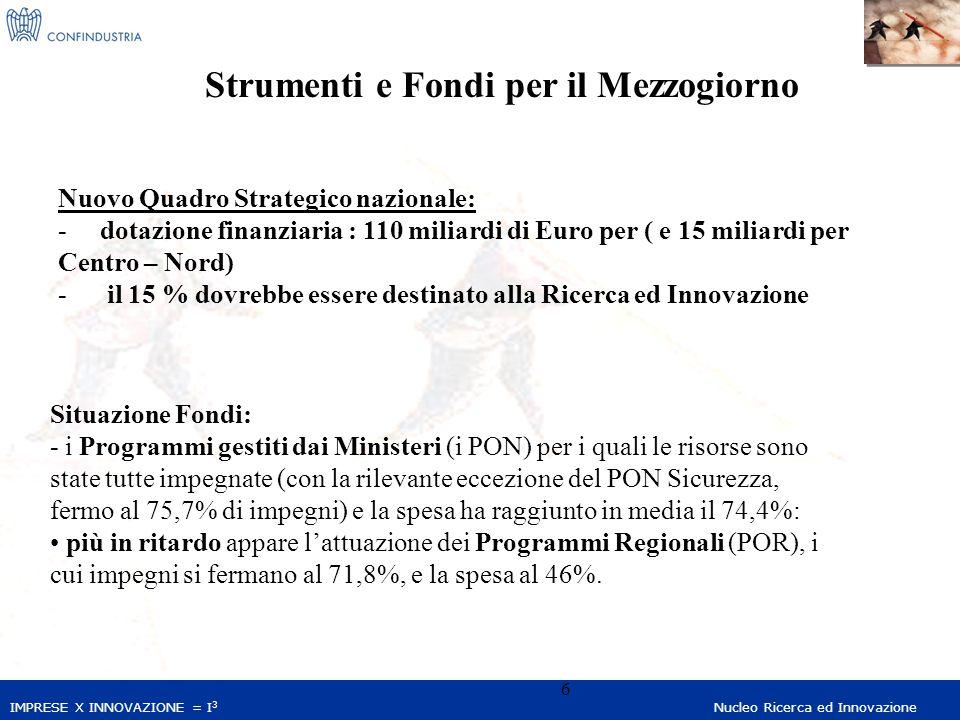 IMPRESE X INNOVAZIONE = I 3 Nucleo Ricerca ed Innovazione 6 Strumenti e Fondi per il Mezzogiorno Nuovo Quadro Strategico nazionale: - dotazione finanziaria : 110 miliardi di Euro per ( e 15 miliardi per Centro – Nord) - il 15 % dovrebbe essere destinato alla Ricerca ed Innovazione Situazione Fondi: - i Programmi gestiti dai Ministeri (i PON) per i quali le risorse sono state tutte impegnate (con la rilevante eccezione del PON Sicurezza, fermo al 75,7% di impegni) e la spesa ha raggiunto in media il 74,4%: più in ritardo appare l'attuazione dei Programmi Regionali (POR), i cui impegni si fermano al 71,8%, e la spesa al 46%.