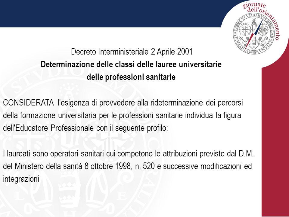 Decreto Interministeriale 2 Aprile 2001 Determinazione delle classi delle lauree universitarie delle professioni sanitarie CONSIDERATA l'esigenza di p