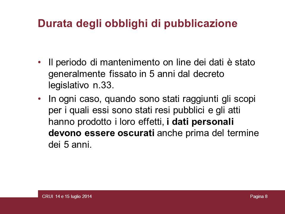 CRUI 14 e 15 luglio 2014Pagina 8 Durata degli obblighi di pubblicazione Il periodo di mantenimento on line dei dati è stato generalmente fissato in 5 anni dal decreto legislativo n.33.