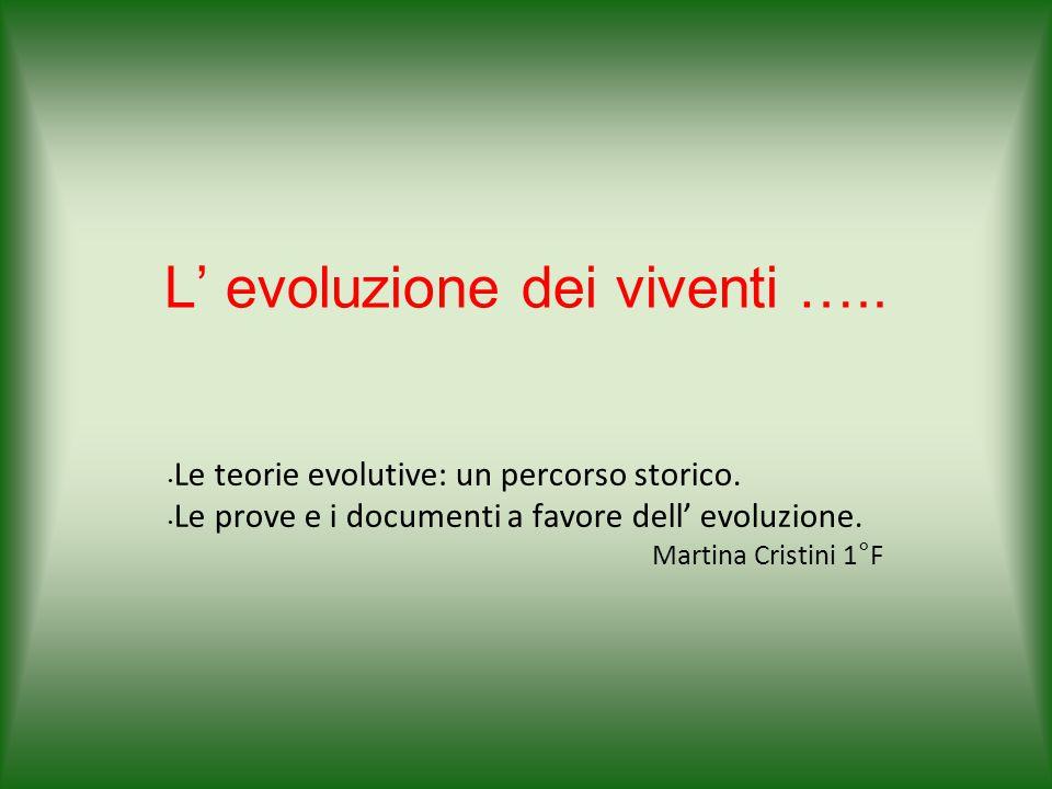 L' evoluzione dei viventi ….. Le teorie evolutive: un percorso storico. Le prove e i documenti a favore dell' evoluzione. Martina Cristini 1°F