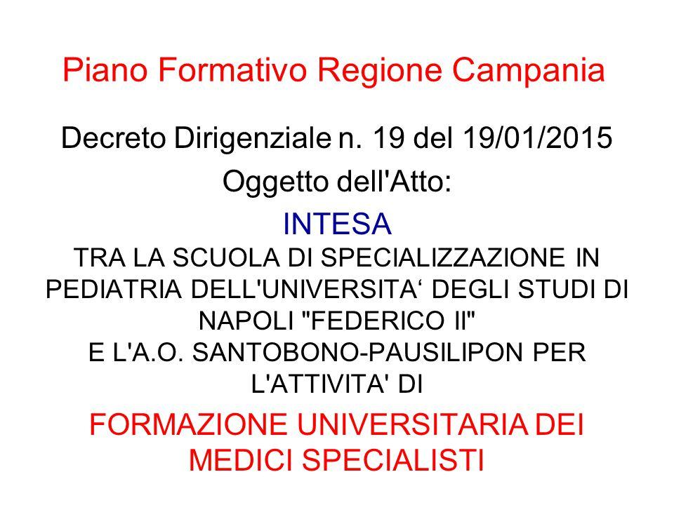 Piano Formativo Regione Campania Decreto Dirigenziale n. 19 del 19/01/2015 Oggetto dell'Atto: INTESA TRA LA SCUOLA DI SPECIALIZZAZIONE IN PEDIATRIA DE