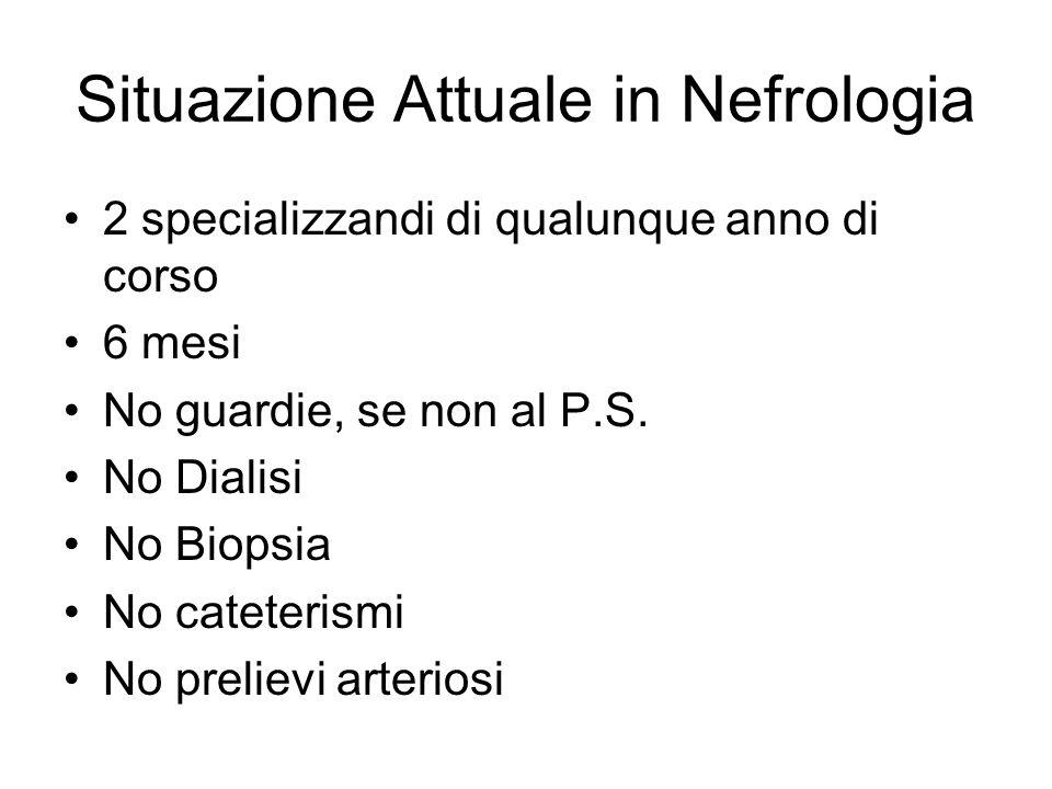 Situazione Attuale in Nefrologia 2 specializzandi di qualunque anno di corso 6 mesi No guardie, se non al P.S. No Dialisi No Biopsia No cateterismi No