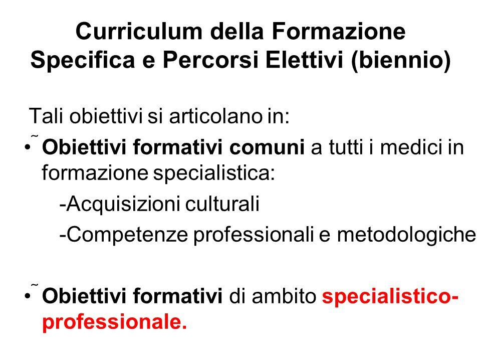 Curriculum della Formazione Specifica e Percorsi Elettivi (biennio) Tali obiettivi si articolano in: Obiettivi formativi comuni a tutti i medici in f