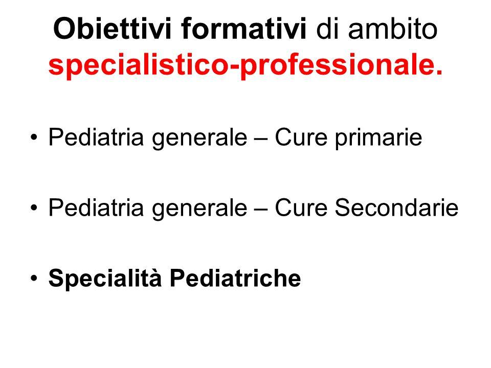 Obiettivi formativi di ambito specialistico-professionale. Pediatria generale – Cure primarie Pediatria generale – Cure Secondarie Specialità Pediatri