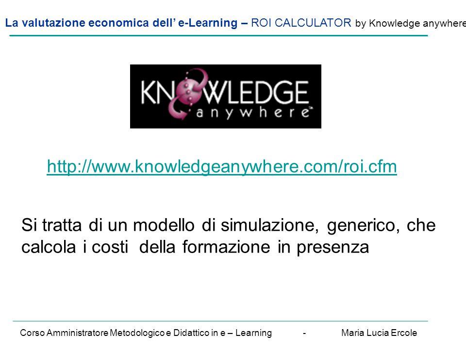 La valutazione economica dell' e-Learning – ROI CALCULATOR by Knowledge anywhere Corso Amministratore Metodologico e Didattico in e – Learning - Maria