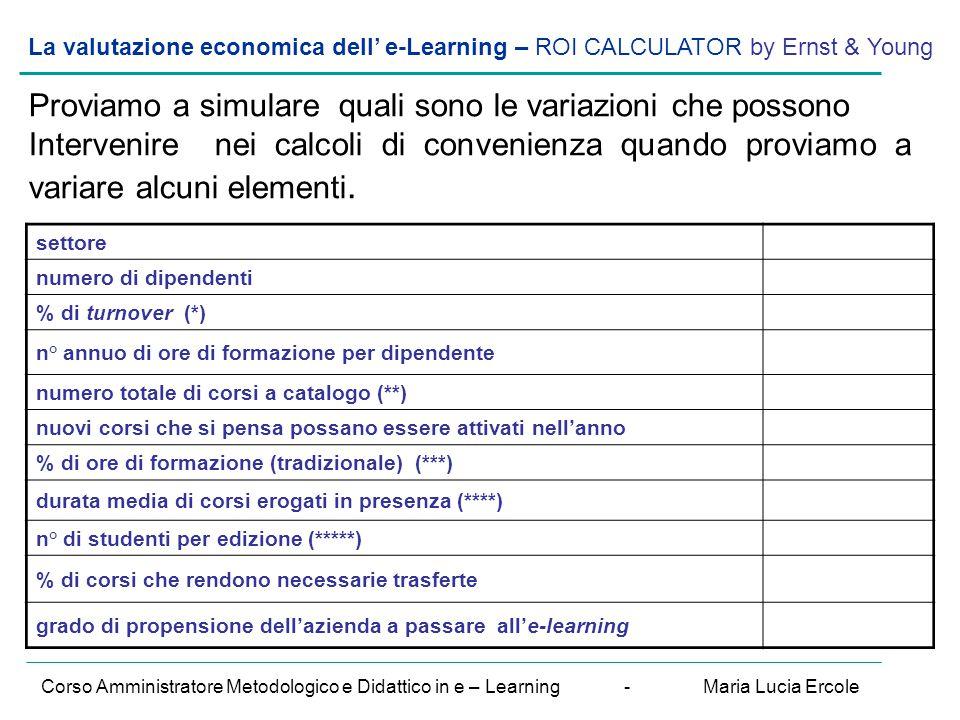 La valutazione economica dell' e-Learning – ROI CALCULATOR by Ernst & Young Corso Amministratore Metodologico e Didattico in e – Learning - Maria Luci