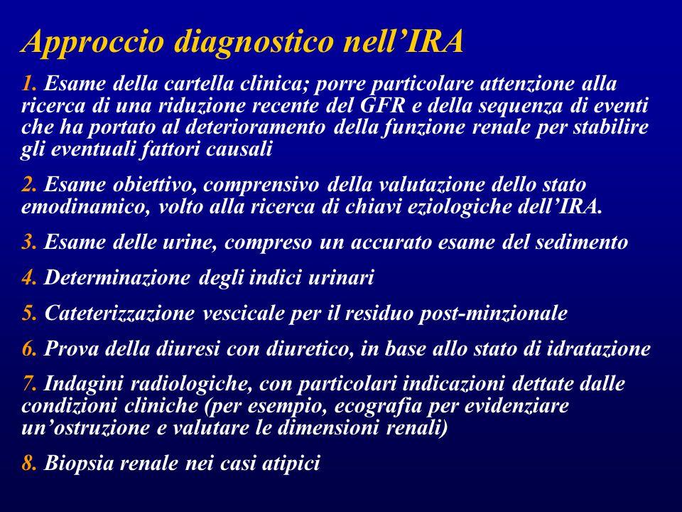 Approccio diagnostico nell'IRA 1. Esame della cartella clinica; porre particolare attenzione alla ricerca di una riduzione recente del GFR e della seq