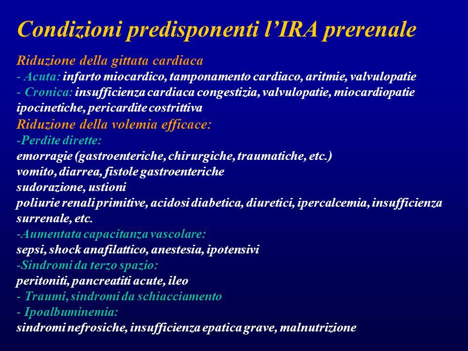 Condizioni predisponenti l'IRA prerenale Riduzione della gittata cardiaca - Acuta: infarto miocardico, tamponamento cardiaco, aritmie, valvulopatie - Cronica: insufficienza cardiaca congestizia, valvulopatie, miocardiopatie ipocinetiche, pericardite costrittiva Riduzione della volemia efficace: -Perdite dirette: emorragie (gastroenteriche, chirurgiche, traumatiche, etc.) vomito, diarrea, fistole gastroenteriche sudorazione, ustioni poliurie renali primitive, acidosi diabetica, diuretici, ipercalcemia, insufficienza surrenale, etc.