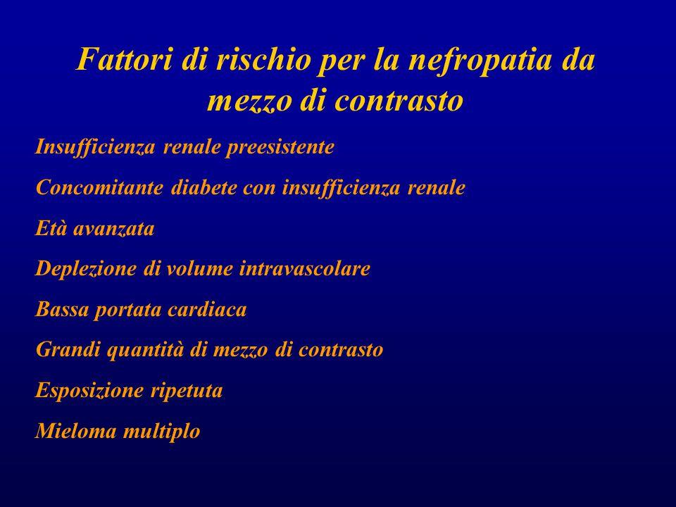 Fattori di rischio per la nefropatia da mezzo di contrasto Insufficienza renale preesistente Concomitante diabete con insufficienza renale Età avanzata Deplezione di volume intravascolare Bassa portata cardiaca Grandi quantità di mezzo di contrasto Esposizione ripetuta Mieloma multiplo