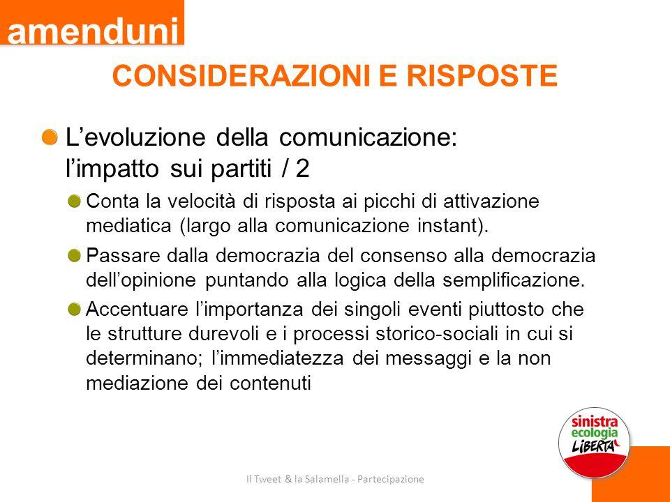 CONSIDERAZIONI E RISPOSTE L'evoluzione della comunicazione: l'impatto sui partiti / 2 Conta la velocità di risposta ai picchi di attivazione mediatica (largo alla comunicazione instant).