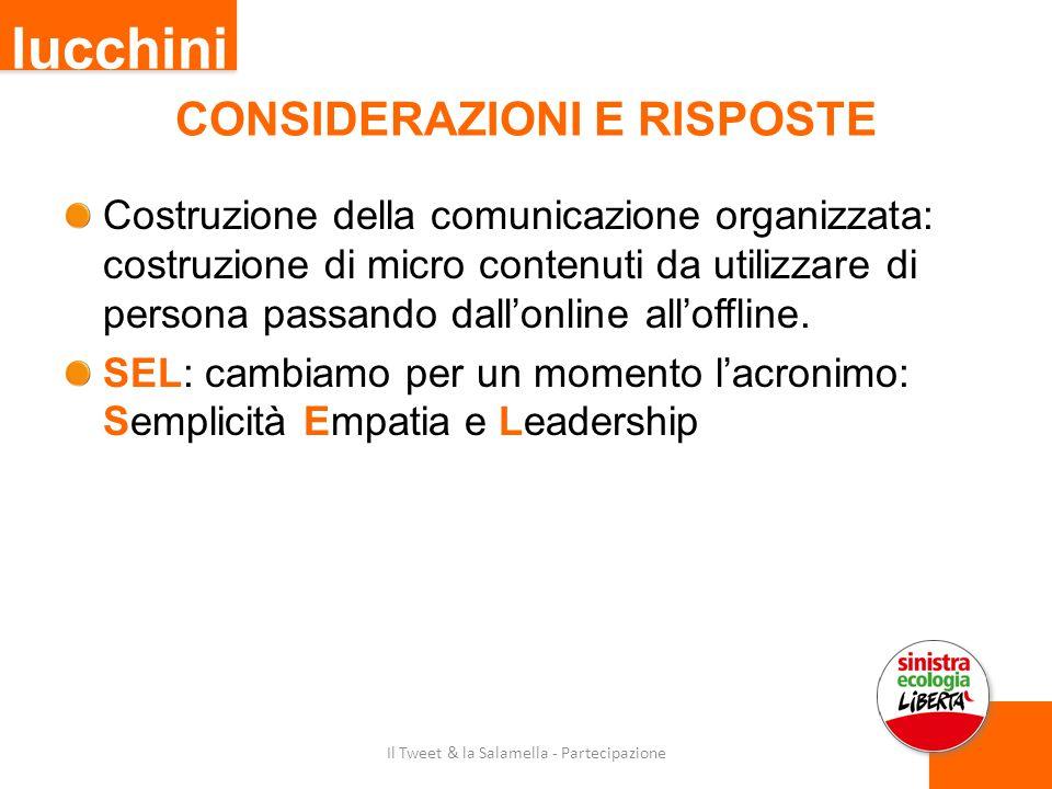 CONSIDERAZIONI E RISPOSTE Costruzione della comunicazione organizzata: costruzione di micro contenuti da utilizzare di persona passando dall'online all'offline.