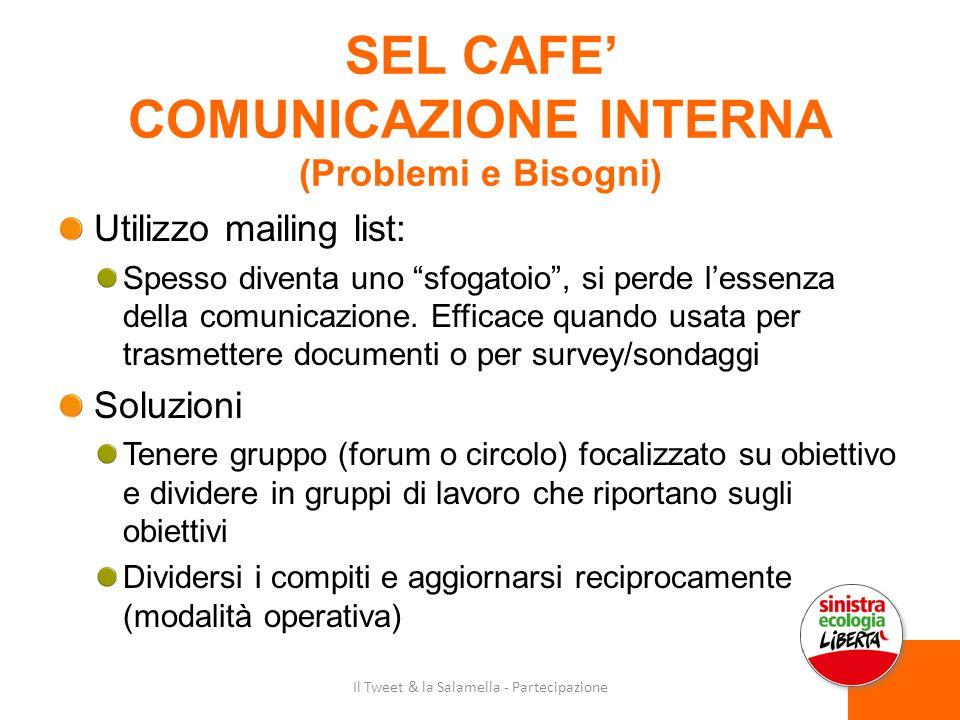 SEL CAFE' COMUNICAZIONE INTERNA (Problemi e Bisogni) Utilizzo mailing list: Spesso diventa uno sfogatoio , si perde l'essenza della comunicazione.