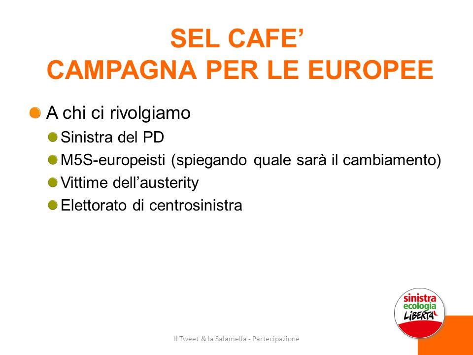 SEL CAFE' CAMPAGNA PER LE EUROPEE A chi ci rivolgiamo Sinistra del PD M5S-europeisti (spiegando quale sarà il cambiamento) Vittime dell'austerity Elettorato di centrosinistra Il Tweet & la Salamella - Partecipazione