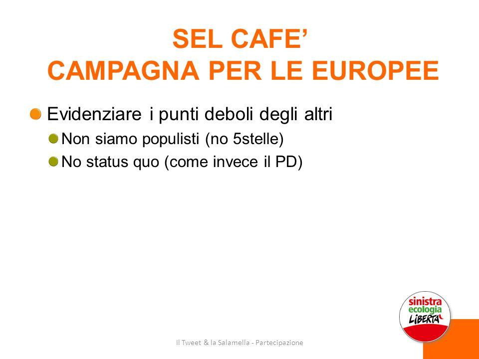 SEL CAFE' CAMPAGNA PER LE EUROPEE Evidenziare i punti deboli degli altri Non siamo populisti (no 5stelle) No status quo (come invece il PD) Il Tweet & la Salamella - Partecipazione