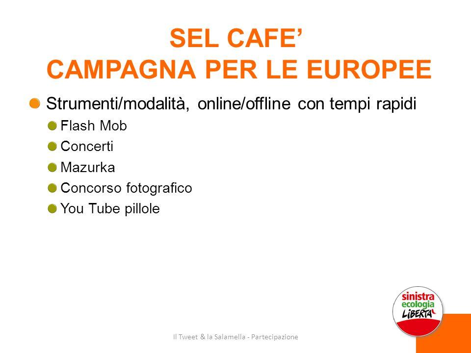 SEL CAFE' CAMPAGNA PER LE EUROPEE Strumenti/modalità, online/offline con tempi rapidi Flash Mob Concerti Mazurka Concorso fotografico You Tube pillole Il Tweet & la Salamella - Partecipazione