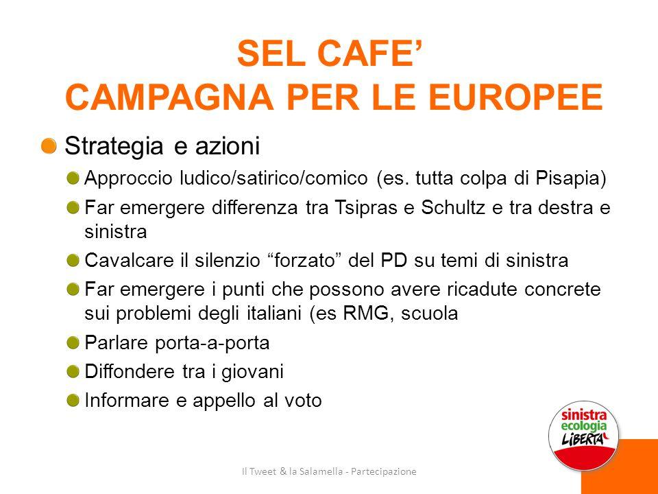 SEL CAFE' CAMPAGNA PER LE EUROPEE Strategia e azioni Approccio ludico/satirico/comico (es.