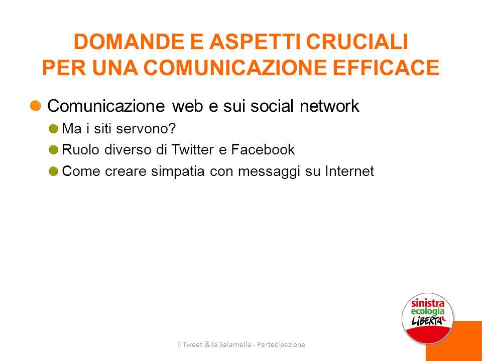 DOMANDE E ASPETTI CRUCIALI PER UNA COMUNICAZIONE EFFICACE Comunicazione web e sui social network Ma i siti servono.