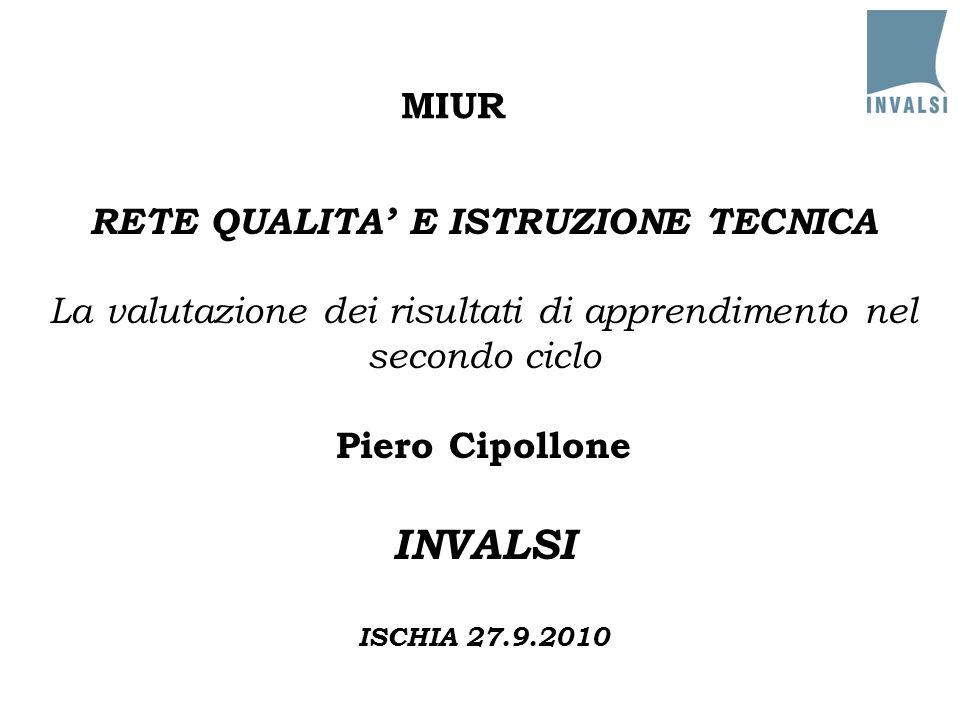 MIUR RETE QUALITA' E ISTRUZIONE TECNICA La valutazione dei risultati di apprendimento nel secondo ciclo Piero Cipollone INVALSI ISCHIA 27.9.2010