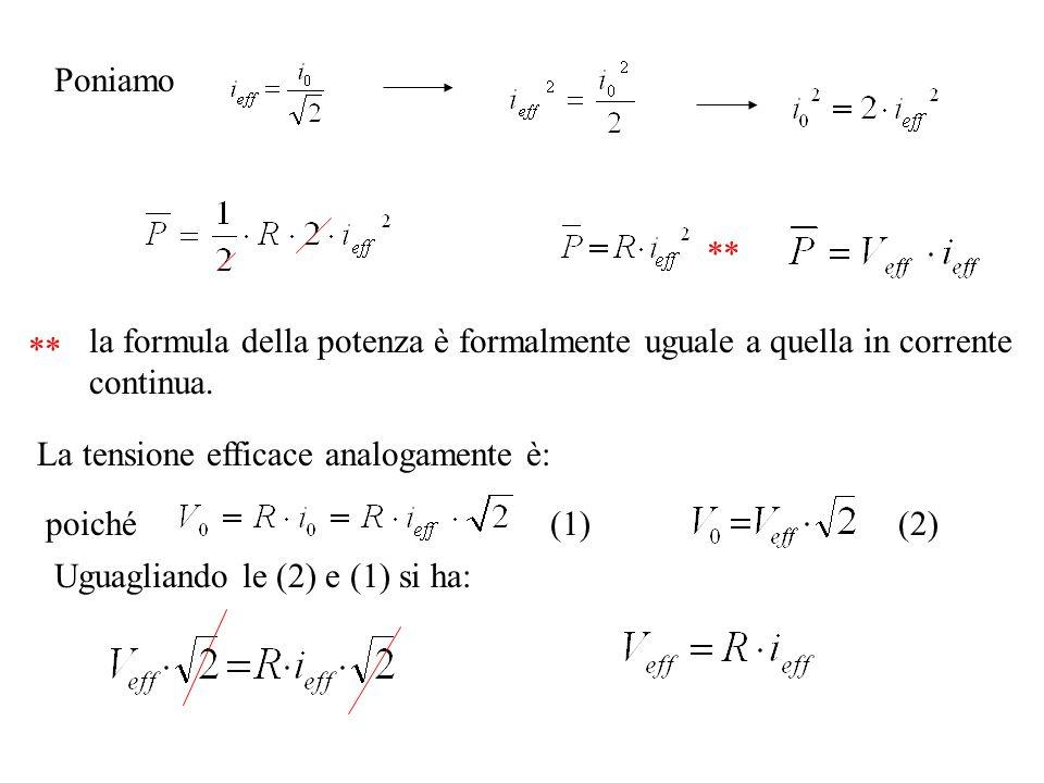 Poniamo ** la formula della potenza è formalmente uguale a quella in corrente continua. La tensione efficace analogamente è: poiché(1)(2) Uguagliando