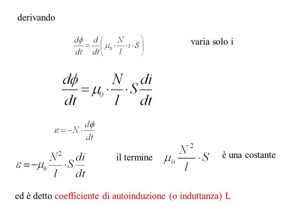 derivando varia solo i il termine è una costante ed è detto coefficiente di autoinduzione (o induttanza) L