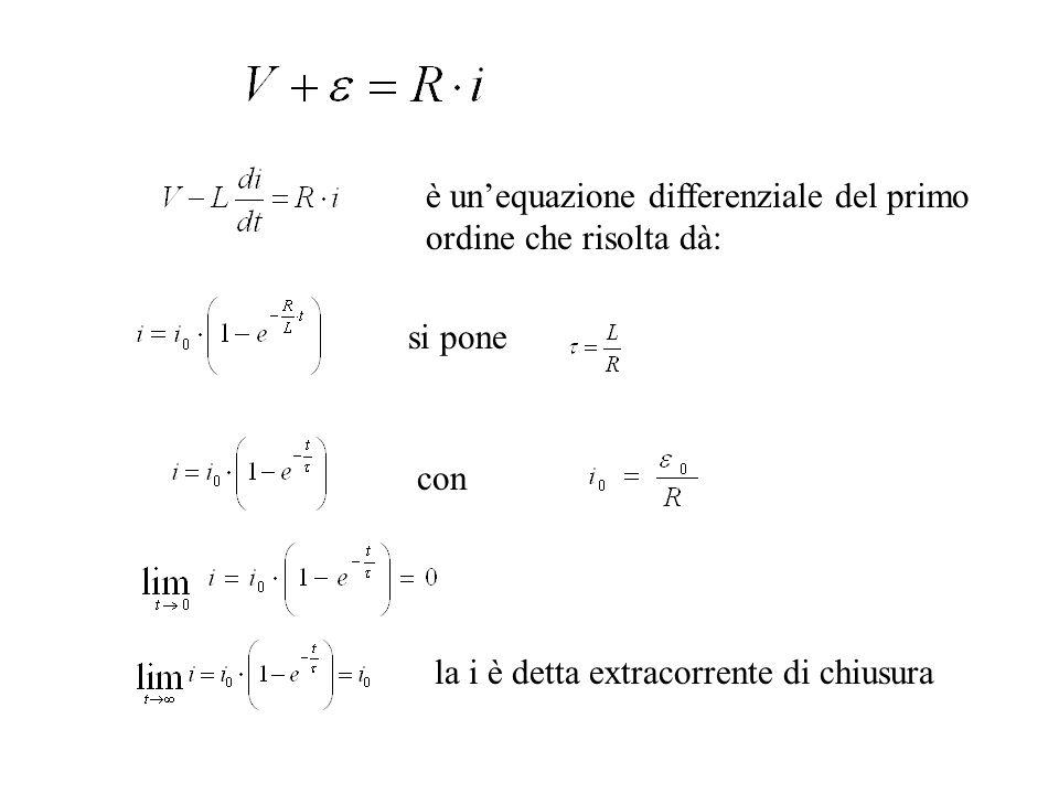 è un'equazione differenziale del primo ordine che risolta dà: si pone con la i è detta extracorrente di chiusura