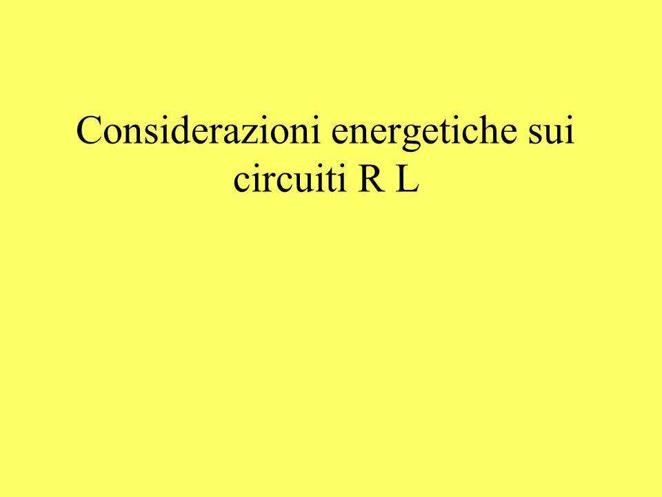 Considerazioni energetiche sui circuiti R L