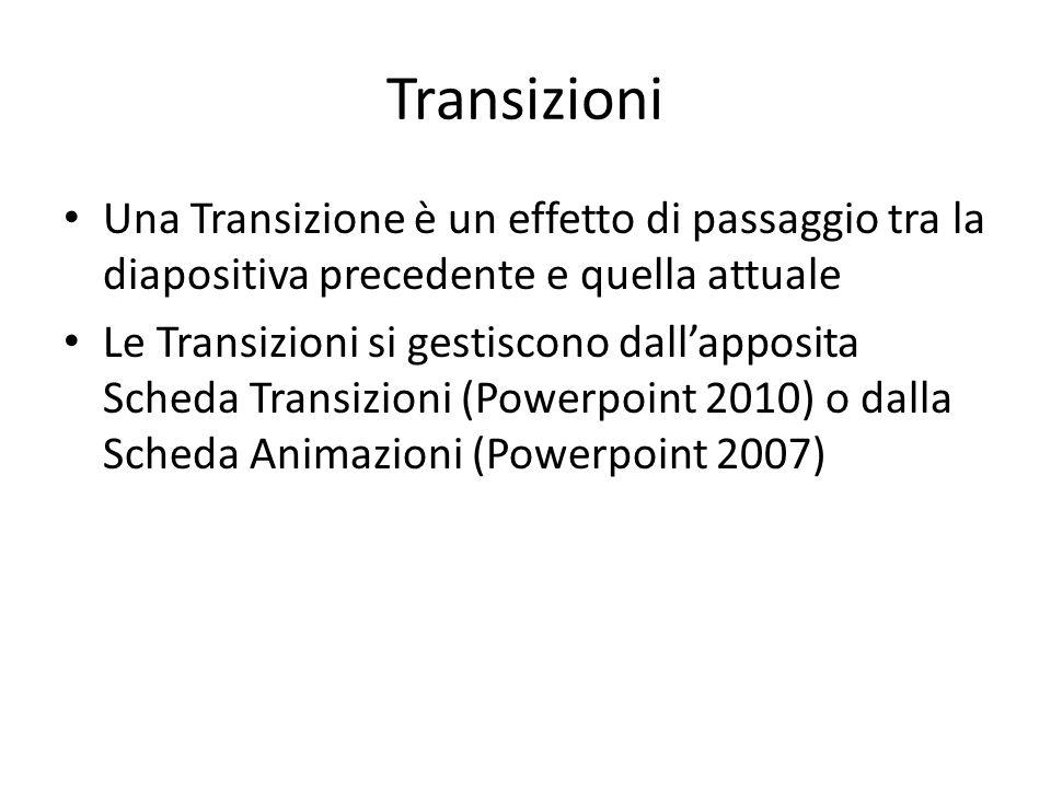 Transizioni Una Transizione è un effetto di passaggio tra la diapositiva precedente e quella attuale Le Transizioni si gestiscono dall'apposita Scheda