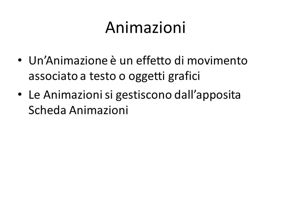 Animazioni Un'Animazione è un effetto di movimento associato a testo o oggetti grafici Le Animazioni si gestiscono dall'apposita Scheda Animazioni