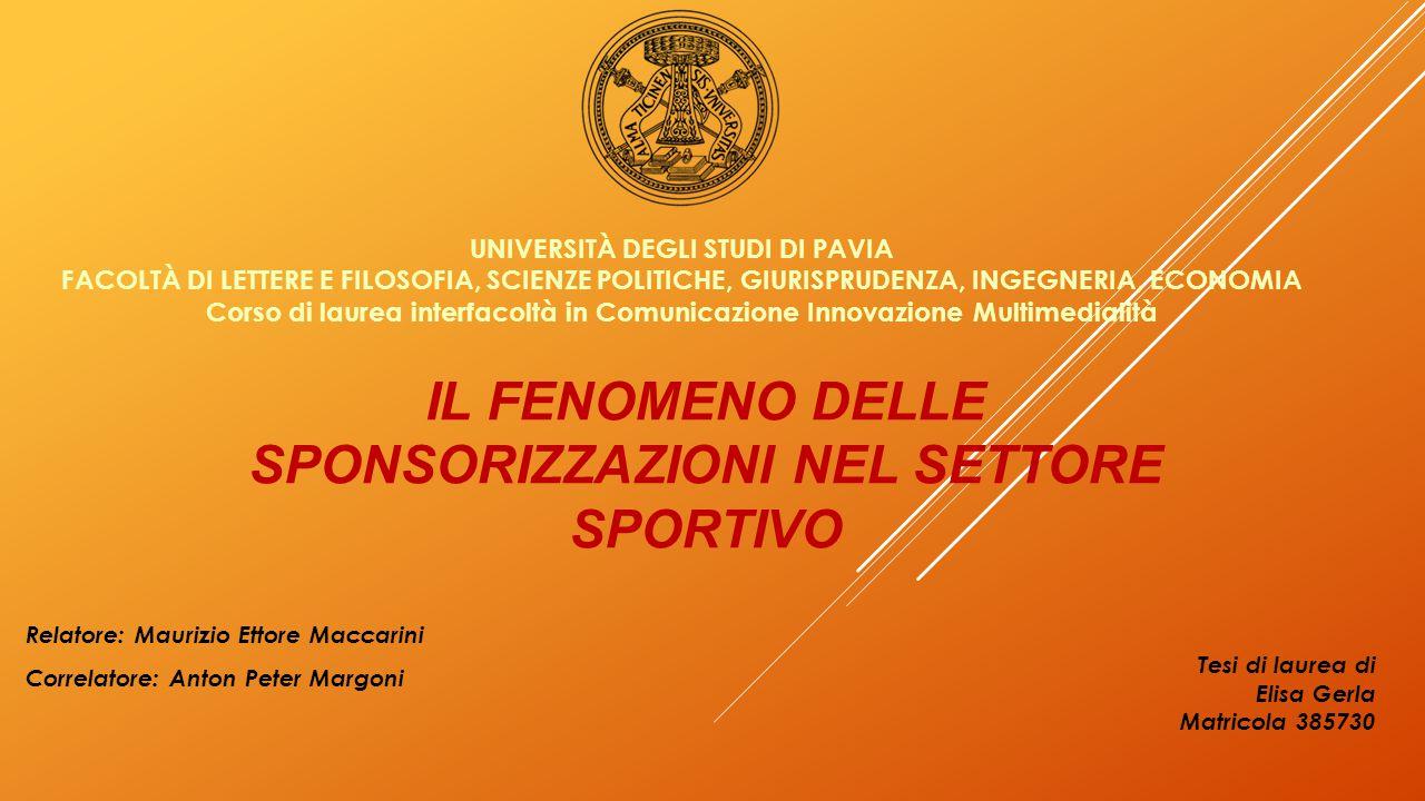 INVESTIMENTI IN SPONSORIZZAZIONI NEI DIVERSI COMPARTI DEL MERCATO (2014)