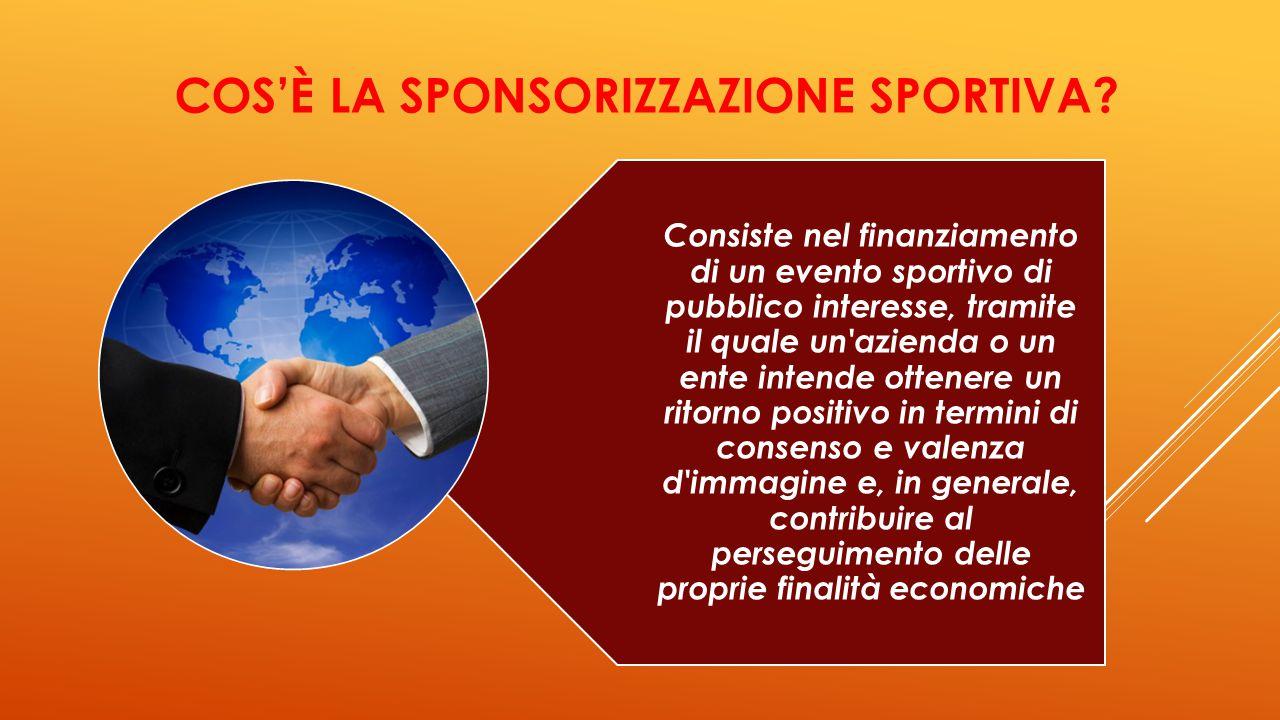 LA SPONSORIZZAZIONE SPORTIVA PERMETTE : Associazione nome di un azienda/prodotto ad una disciplina sportiva o ad un atleta Attribuire valori positivi all'impresa sponsorizzatrice Generare un sentimento di simpatia
