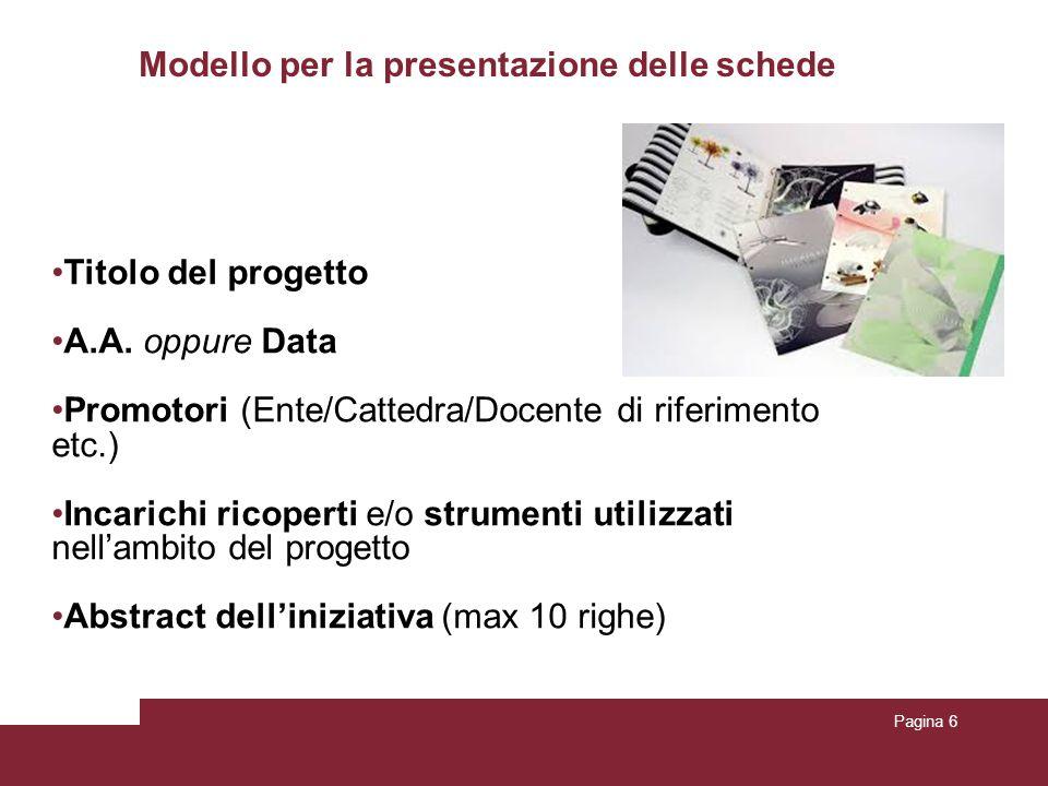 Pagina 6 Modello per la presentazione delle schede Titolo del progetto A.A. oppure Data Promotori (Ente/Cattedra/Docente di riferimento etc.) Incarich