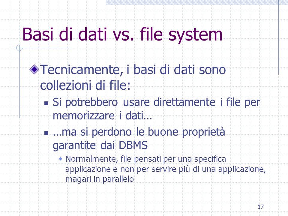 17 Basi di dati vs. file system Tecnicamente, i basi di dati sono collezioni di file: Si potrebbero usare direttamente i file per memorizzare i dati…