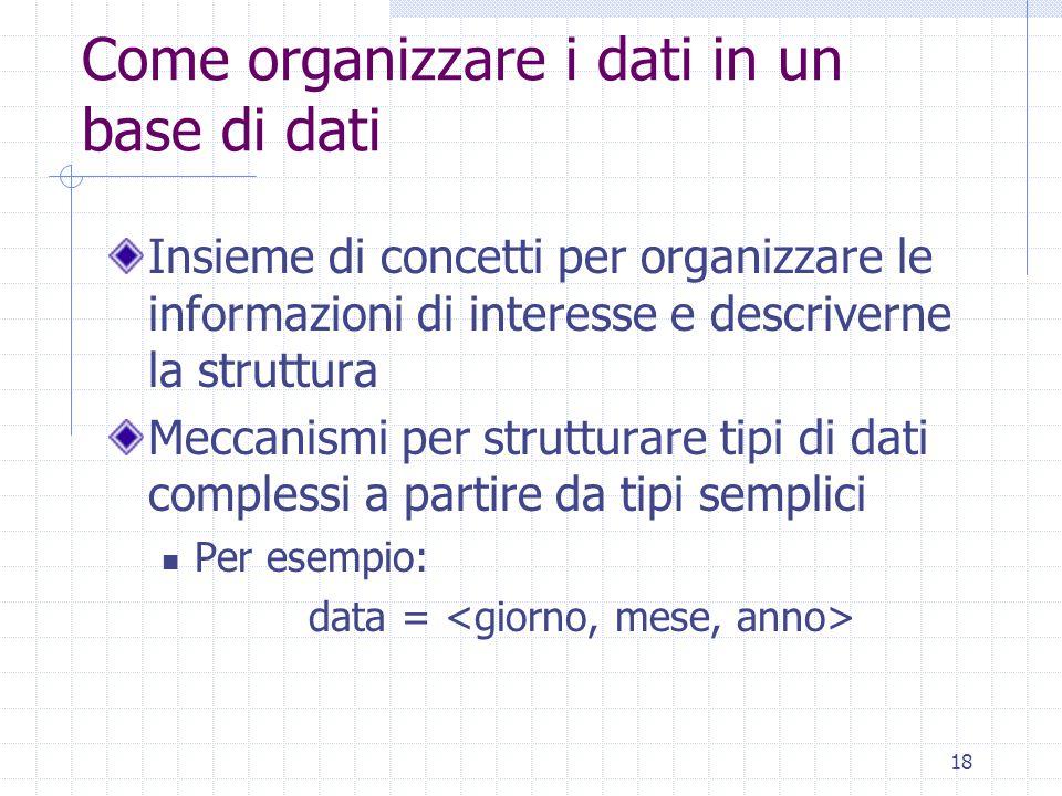 18 Come organizzare i dati in un base di dati Insieme di concetti per organizzare le informazioni di interesse e descriverne la struttura Meccanismi per strutturare tipi di dati complessi a partire da tipi semplici Per esempio: data =
