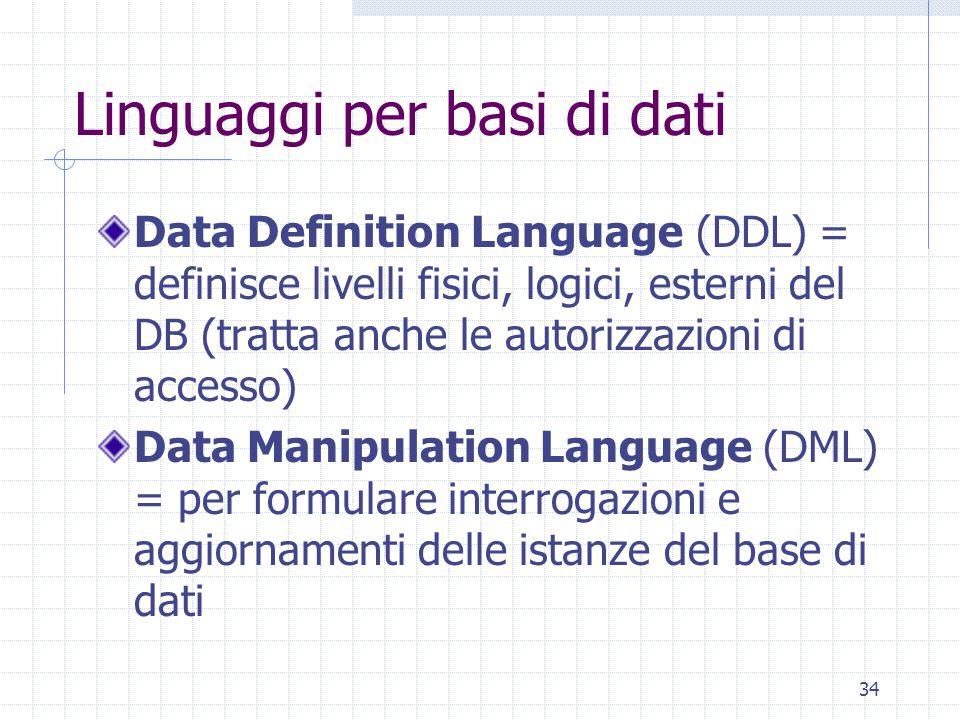 34 Linguaggi per basi di dati Data Definition Language (DDL) = definisce livelli fisici, logici, esterni del DB (tratta anche le autorizzazioni di accesso) Data Manipulation Language (DML) = per formulare interrogazioni e aggiornamenti delle istanze del base di dati