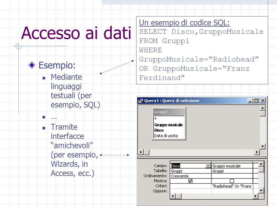 """37 Accesso ai dati Esempio: Mediante linguaggi testuali (per esempio, SQL) … Tramite interfacce """"amichevoli"""" (per esempio, Wizards, in Access, ecc.) U"""
