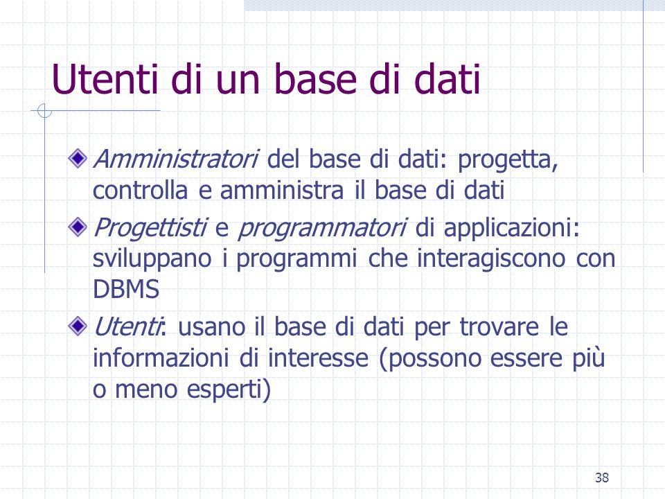 38 Utenti di un base di dati Amministratori del base di dati: progetta, controlla e amministra il base di dati Progettisti e programmatori di applicaz