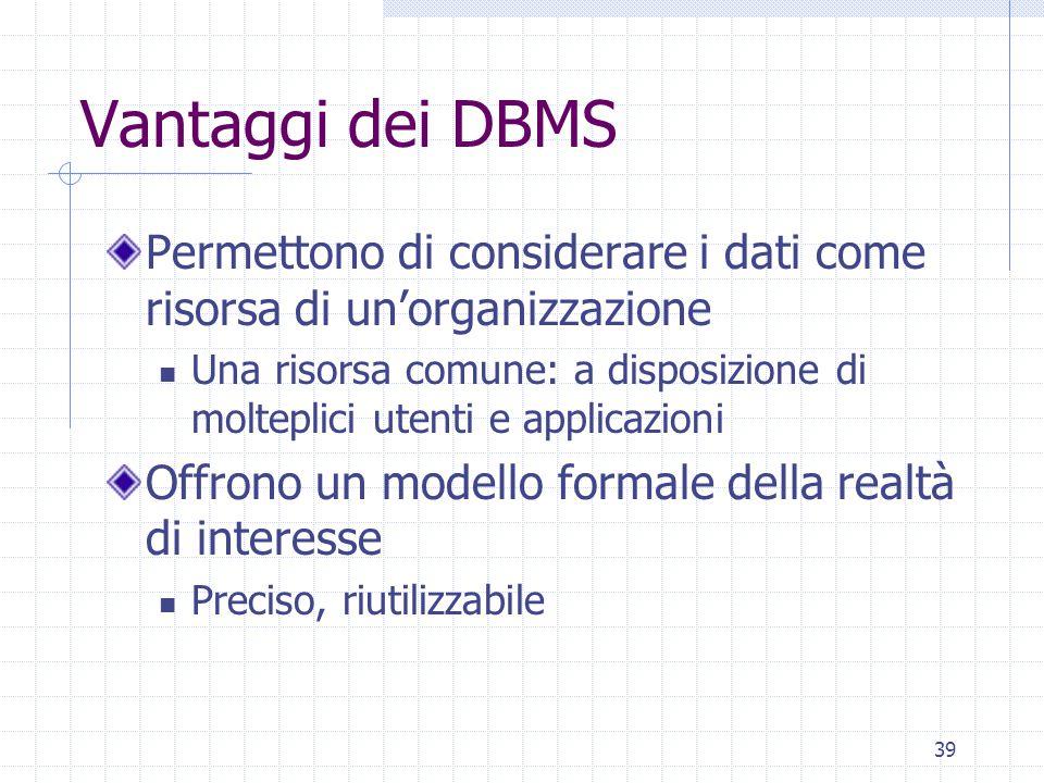39 Vantaggi dei DBMS Permettono di considerare i dati come risorsa di un'organizzazione Una risorsa comune: a disposizione di molteplici utenti e applicazioni Offrono un modello formale della realtà di interesse Preciso, riutilizzabile