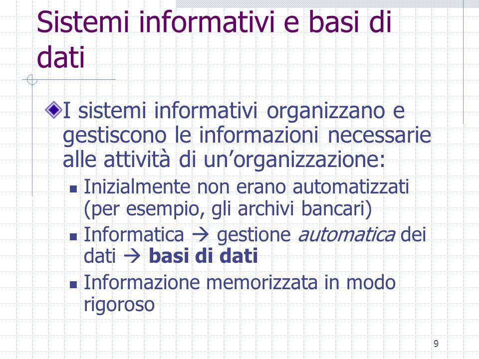 9 Sistemi informativi e basi di dati I sistemi informativi organizzano e gestiscono le informazioni necessarie alle attività di un'organizzazione: Inizialmente non erano automatizzati (per esempio, gli archivi bancari) Informatica  gestione automatica dei dati  basi di dati Informazione memorizzata in modo rigoroso