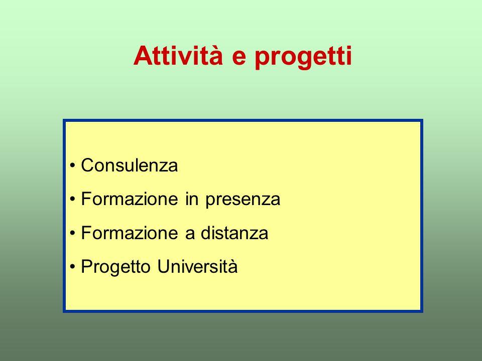 Attività e progetti Consulenza Formazione in presenza Formazione a distanza Progetto Università